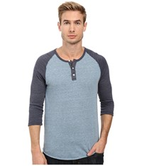 Alternative Apparel 3 4 Raglan Henley Eco Greencast Indigo Eco True Navy Men's Long Sleeve Pullover Blue