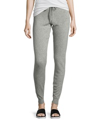 Neiman Marcus Cashmere Drawstring Track Pants Heather Gray