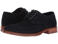 Trask Logan Navy Suede Lace Up Cap Toe Shoes Blue