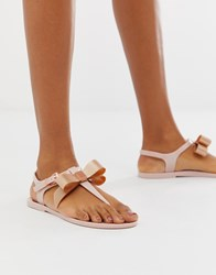 Ted Baker Pink Teiya Jelly Sandal With Rose Gold Bow