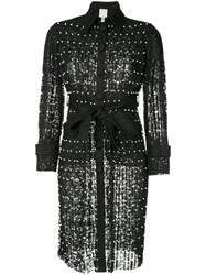 Huishan Zhang Embellished Fitted Coat Black
