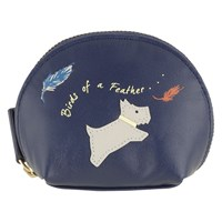 Radley Birds Of A Feather Leather Coin Purse Midnight Blue