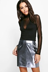 Boohoo Annabel Top With Mesh Insert Long Sleeves Black