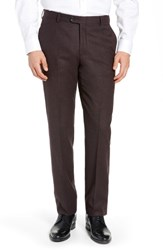 Hickey Freeman Classic Fit Solid Trousers Burgundy