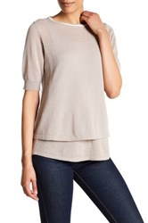 Cullen Elbow Sleeve Linen Blend Double Layer Shirt Beige