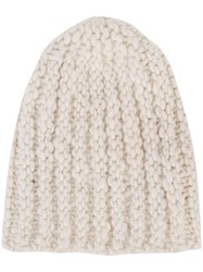 The Elder Statesman Cashmere Ribbed Beanie Nude Neutrals