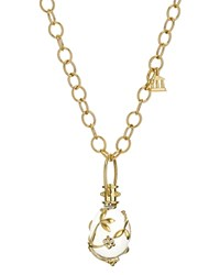 Temple St. Clair Crystal And Diamond Vine Pendant Set In 18K Yellow Gold Clear Gold