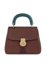 Burberry Two Tone Leather Top Handle Satchel Dark Chocolate