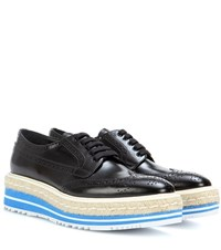 Prada Wingtip Leather Brogues Black