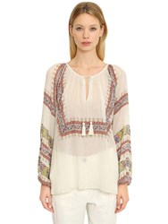 Mes Demoiselles Printed Cotton Gauze Blouse Beige