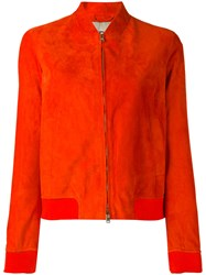 Herno Leather Bomber Jacket Yellow Orange