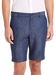 John Varvatos Slim Fit Cotton And Linen Shorts Indigo