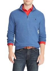 Ralph Lauren Polo Half Zip Textured Knit Jumper Royal Heather