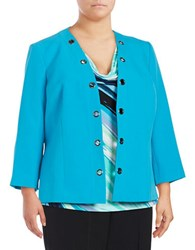 Nipon Boutique Grommet Accented Blazer Grotto