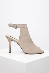 Forever 21 Faux Suede Peep Toe Pumps Light Grey