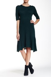 Cullen Elbow Sleeve Ruffle Hem Cashmere Dress Green