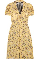 Junya Watanabe Floral Print Chiffon And Lame Dress Pastel Yellow