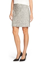 Vince Camuto Double Sided Zip Tweed Skirt Regular And Petite Antique White