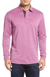 Bugatchi Men's Long Sleeve Pique Polo Plum
