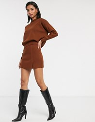Mango Knitted Mini Skirt Co Ord In Brown