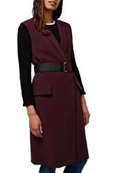 Topshop Women's Sleeveless Belted Coat Burgundy