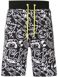 Frankie Morello Illustration Print Track Shorts Black