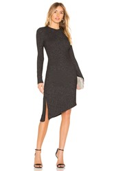David Lerner Long Sleeve Asymmetrical Ruched Dress Black