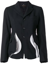 Comme Des Garcons Deconstructed Fitted Jacket Cupro Wool Artificial Leather Black
