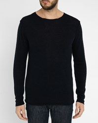 Hartford Navy Raw Edges Cashmere Wool Sweater Blue