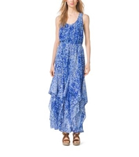 Michael Kors Tie Dye Ruffled Tank Dress Royal