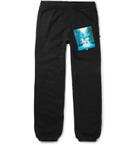 Off White Slim Fit Printed Loopback Cotton Jersey Sweatpants Black