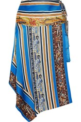 Etro Asymmetric Printed Silk Faille Wrap Skirt Blue