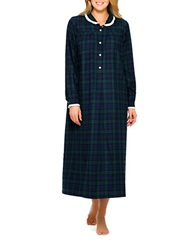 Lanz Long Sleeved Flannel Nightgown Blue Green Plaid