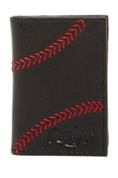 Rawlings Sports Accessories Baseball Stitch Front Pocket Leather Wallet Black