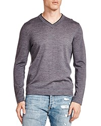 The Kooples Leather Trim Merino Wool V Neck Sweater Gray