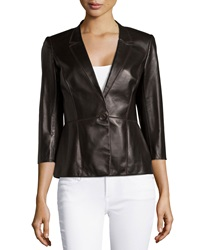 Lafayette 148 New York Patchwork Leather One Button Jacket Espresso