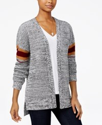 Hippie Rose Juniors' Striped High Low Cardigan Black Combo