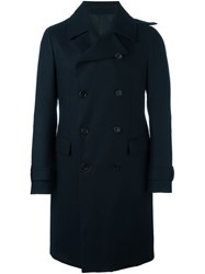 Z Zegna Double Breasted Mid Length Coat Blue