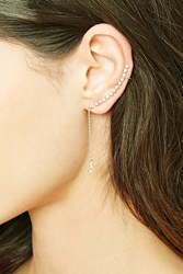 Forever 21 Rhinestone Drop Chain Ear Cuff Gold Clear