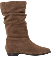 Dune Relissa Slouchy Suede Boots Taupe Suede