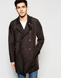 Asos Shower Resistant Trench Coat In Black Black