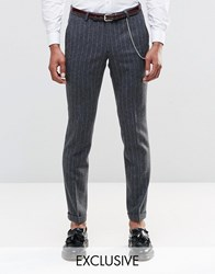 Noose And Monkey Super Skinny Pants In Pinstripe With Turn Up Gray