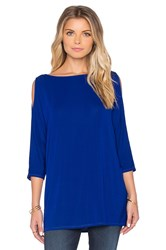 Michael Stars Wide Neck Cold Shoulder Tunic Blue