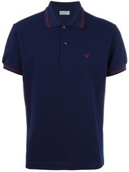 Christian Dior Homme Contrast Detail Polo Shirt Blue
