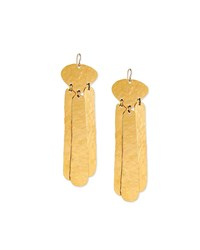 Devon Leigh Hammered Three Drop Earrings Gold
