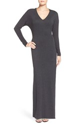 Women's Rd Style Long Sleeve V Neck Maxi Dress Charcoal