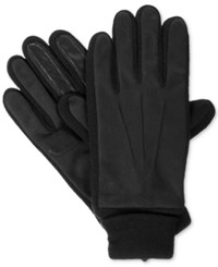 Isotoner Signature Men's Knit Cuff Gloves Black