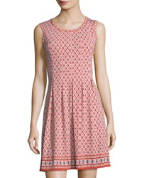 Max Studio Printed Dress With Pleated Skirt Red