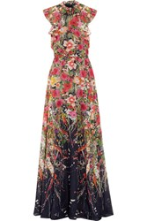 Lela Rose Ruffled Floral Print Cotton Voile Gown Red