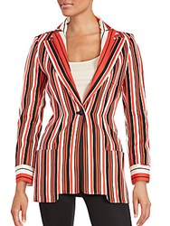 Zang Toi Striped Long Sleeve Jacket Coral